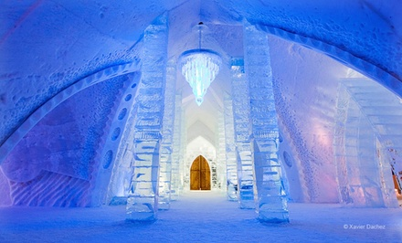 groupon daily deal - 1-Night Stay for Two with Sleeping Bags, Breakfast, Two Drinks, and Hot Tub and Sauna Access at Hôtel de Glace in Quebec