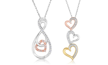 1/10 CTTW Diamond Heart Pendants
