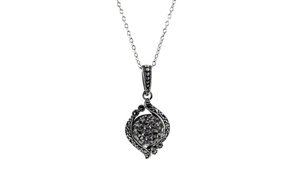 Sterling Silver Marcasite Crystal-Ball Pendant