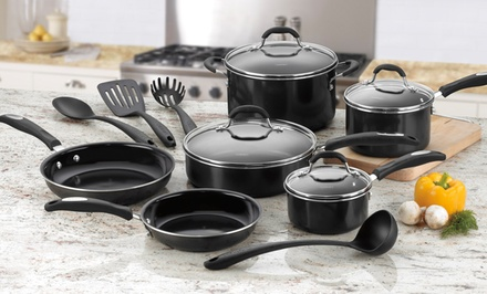 groupon daily deal - Cuisinart 14-Piece PFOA- and PTFE-Free Ceramic Nonstick Cookware Set. Free Returns.