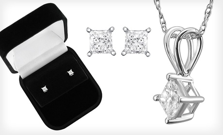 Princess-Cut Diamond Stud Earrings, Pendant Necklace, or Necklace and Earring Set in 14-Karat White Gold (Up to 72% Off)