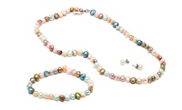 GROUPON: Multicolored Genuine Freshwater Pearl Earri... Multicolored Genuine Freshwater Pearl Earrings, Bracelet, and Necklace