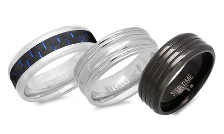 Two Tone or Black Ion Plated Men's Rings in Stainless Steel