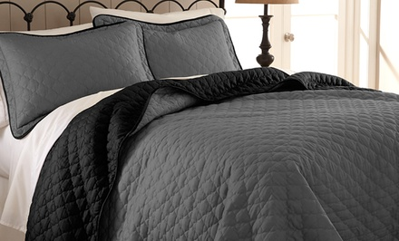 groupon daily deal - 3-Piece Reversible Quilted Coverlet Set. Multiple Colors Available. Free Returns.