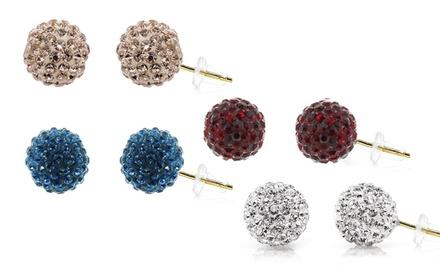 14-Karat Gold Stud Earrings with Swarovski Elements
