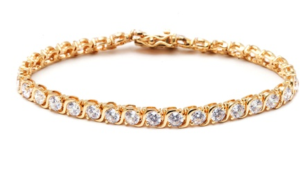 18K Gold Finish Swarovski Crystal Tennis Bracelet