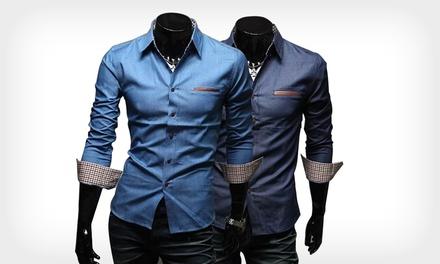 Camisa denim para homem disponível em vários tamanhos por 19,99€ ou duas por 36,99€