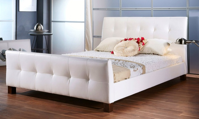 Full or queen size grid tufted upholstered platform bed in for Beds groupon