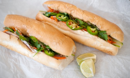 Two Footlong Subs w/ Chips & Drinks, or Five Groupons, Each Good for One Six-Inch Sub at Subway (Up to 50% Off)