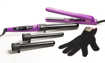 LUV Hair Dazzling Curling Iron and Straightener Set