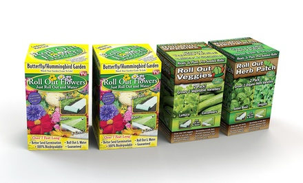 4-Pack Roll-Out Garden Kit with Flowers, Veggies, and Herbs. Free Returns.
