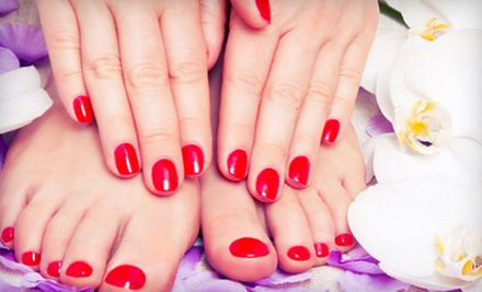 One or Two Classic Mani-Pedis at Mongibello Hair Salon + Spa (Up to 61% Off)