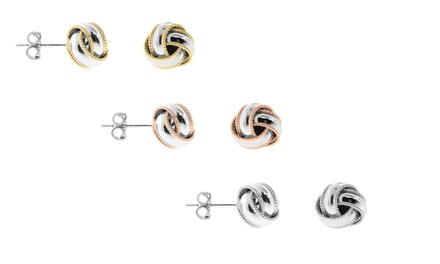 3 Pairs of Love Knot Earrings in Sterling Silver