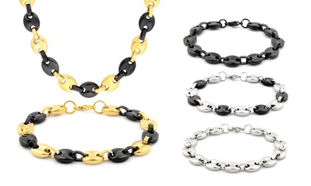 Men's Puffed-Mariner Necklace and Bracelet Set