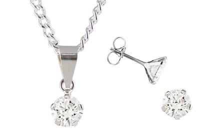 Conjunto composto por colar e brincos de prata com cristais Swarovski Zirconia por 29,90€