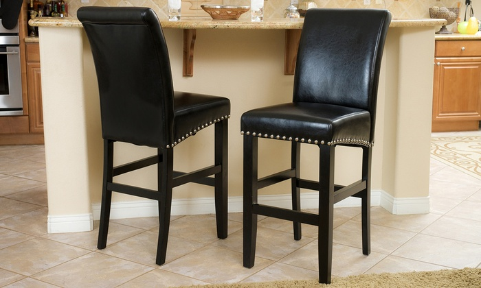 Set Of 2 Clifton Bonded Leather Bar Or Counter Stools