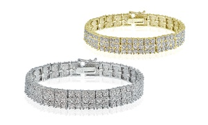 1 Cttw Diamond Miracle Set 3-row Tennis Bracelet In Silver Or Gold Plated Brass