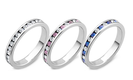 4 CTTW Cubic Zirconia Birthstone Eternity Bands