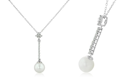 Natural White Round Pearl and Diamond Drop Necklace in Sterling Silver