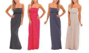Strapless Nautical Maxi Dress