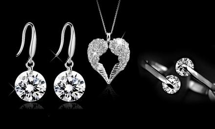 Colar e pendente Angel Wings, par de brincos Drop ou anel de noivado Twin Zircon por 6,99€ ou conjunto desde 14,99€