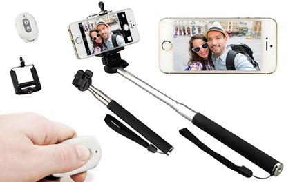 Braço extensível e comando à distância com bluetooth para selfies por 14,90€