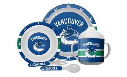 NHL 5-Piece Baby Dinner Set with Plate, Utensils, and Cup