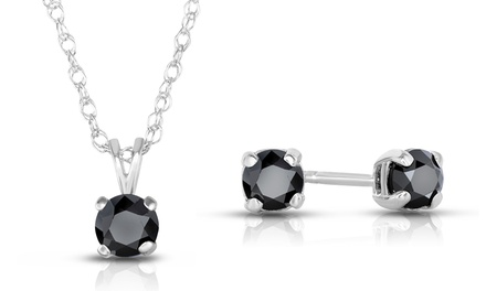 1 CTTW Black Diamond Stud Earrings and Pendant Necklace in Sterling Silver