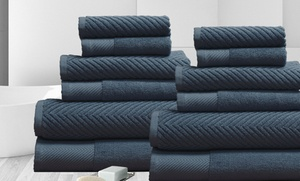 12-piece 100% Egyptian Cotton Chevron Jacquard Towel Set
