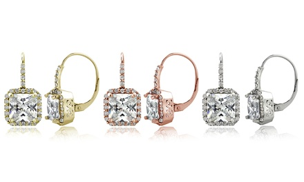 6.5 CTTW Cubic Zirconia Square Halo Leverback Earrings