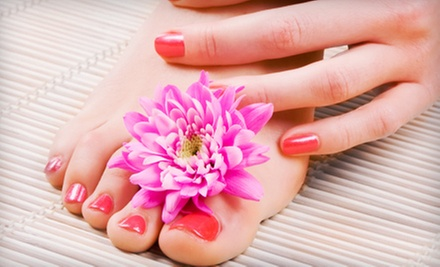 Tropical Mani-Pedi or Shellac Mani-Pedi with Glass of Wine at Natural Nails by T (Up to 58% Off)