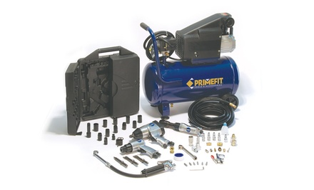 Primefit Six-Gallon Air Compressor and 52-Piece Accessory Set: RB-CMK2001 (Rebuilt)