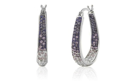 Inside Out Ombre Hoop Earrings with Amethyst Swarovski Elements Crystals