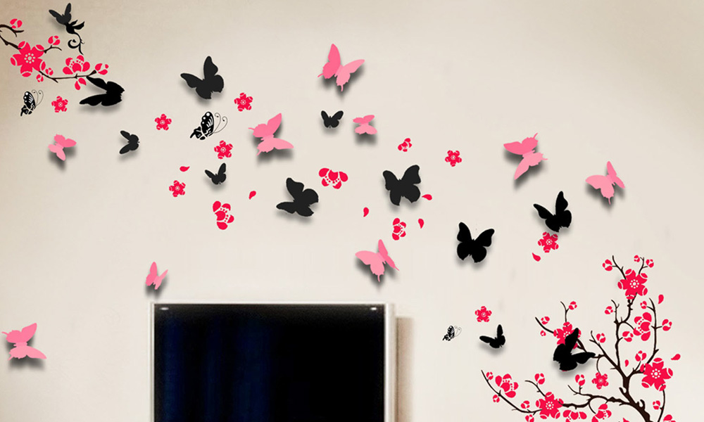 Photo Collection D Butterfly Wall Stickers - Butterfly wall decals 3d