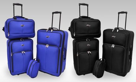 U.S. Traveler Potenza 4-Piece Luggage Set in Black or Blue. Free Returns.