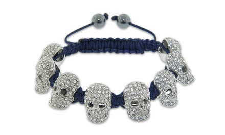 Crystal Skull Macrame Bracelet with Swarovski Elements
