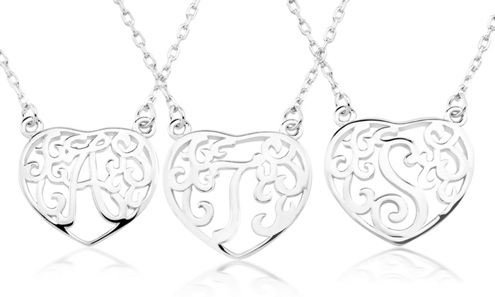 Sterling Silver Heart-Shaped Initial Monogram Pendant Deal of the