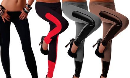 Leggings stretch com tiras em pele sintética por 14,99€ ou dois pares por 26,99€