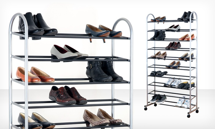 39.99 for a 10-Tier Rolling Shoe Rack ($100 List Price). Free