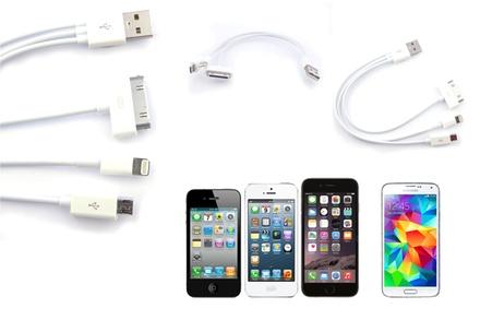 Cabo multiligação ou simples para Samsung ou iPhone 4, 5 ou 6 por 5,90 € com envio gratuito
