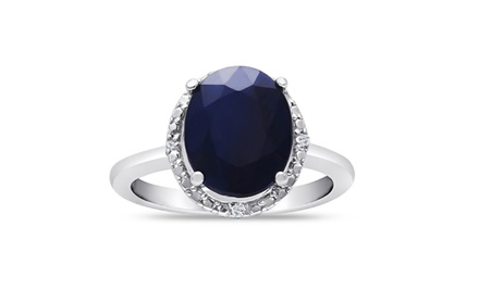 3.00 CTW Oval Cut Sapphire and Diamond Ring in Sterling Silver