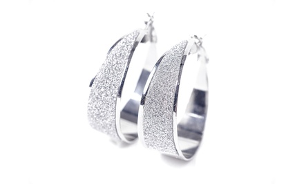 Swarovski Elements Pave Dust Crystal Hoop Earrings
