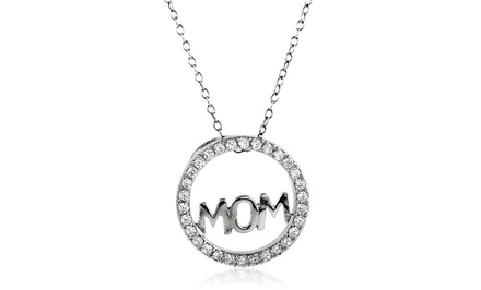 Cubic Zirconia Mom Pendant in Gold-Plated Sterling Silver