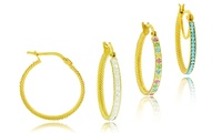 GROUPON: Swarovski Element Crystal Hoops in 18K Gold Swarovski Element Crystal Hoops in 18K Gold
