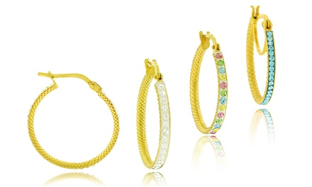 Swarovski Element Crystal Hoops in 18K Gold