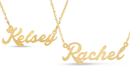 Nameplate Necklaces In 18K Gold Plating K–W (Kaitlyn–Whitney)