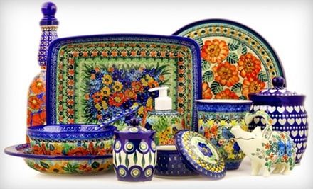 Polish Pottery, Home Furnishings, or Dining Accessories at Polmedia Polish Pottery (Half Off). Two Options Available.