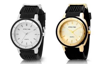 Men's Stainless Steel Watch and Bracelet Set