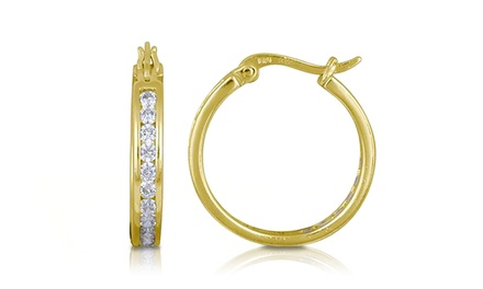 Swarovski Elements Hoop Earrings in 14K Gold