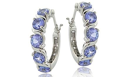 2.75 CTTW Tanzanite Hoop Earrings in Sterling Silver